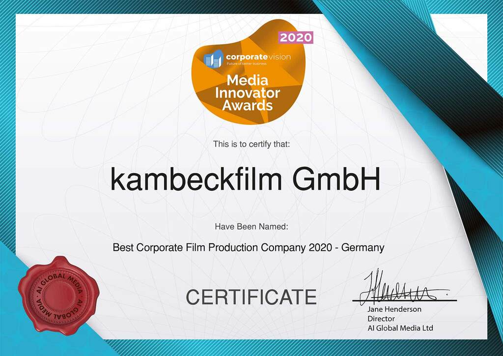 kambeckfilm_Media Innovator Awards Certificate 2020